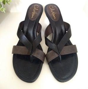 Cole Haan Size 8 Wedge Sandal black brown